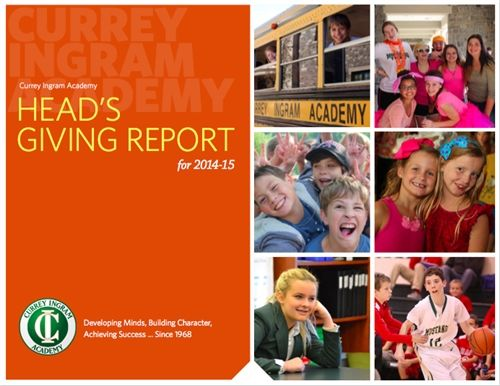 Head's Giving Report for 2014-15