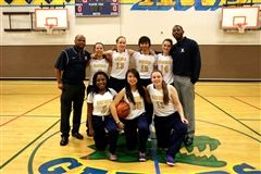 Abbey (#11) with her Annie Wright teammates and coaches