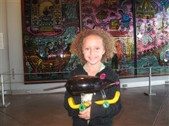 Norah with Skate Mouse at the Museum of Glass