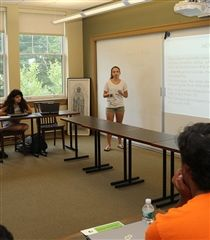 Bioethics Project participants presenting their topics during the summer internship.