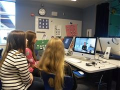 Students with Dr. Herr in a Google Hangout