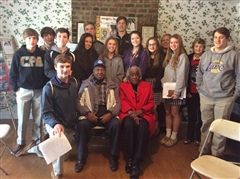Eighth graders visited assisted living homes to interview residents on life in the 1940s.