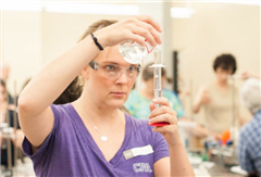 Chemistry Instructor Katie Parks learns the latest in lab resourcefulness at a Belmont workshop. *Photo credit to Belmont University Photographer, Andrea Hallgren