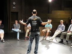 Patrick Poole leads student workshop on cue scripts