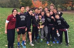 Jr XC squad with Park Invitational trophy